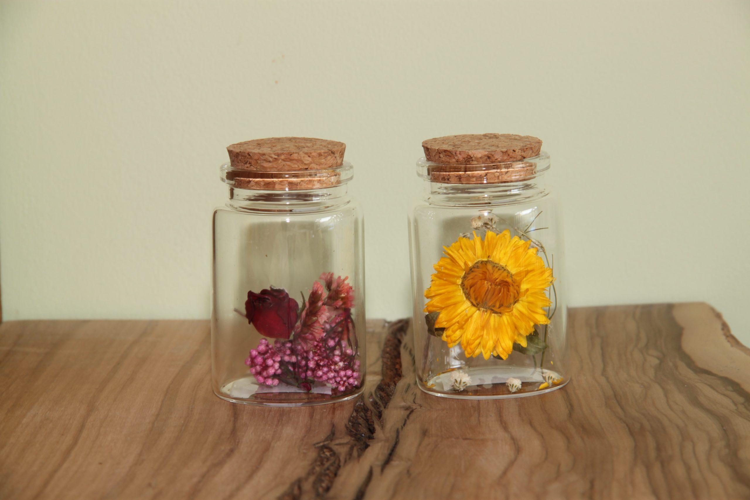 flesje met droogbloemen set